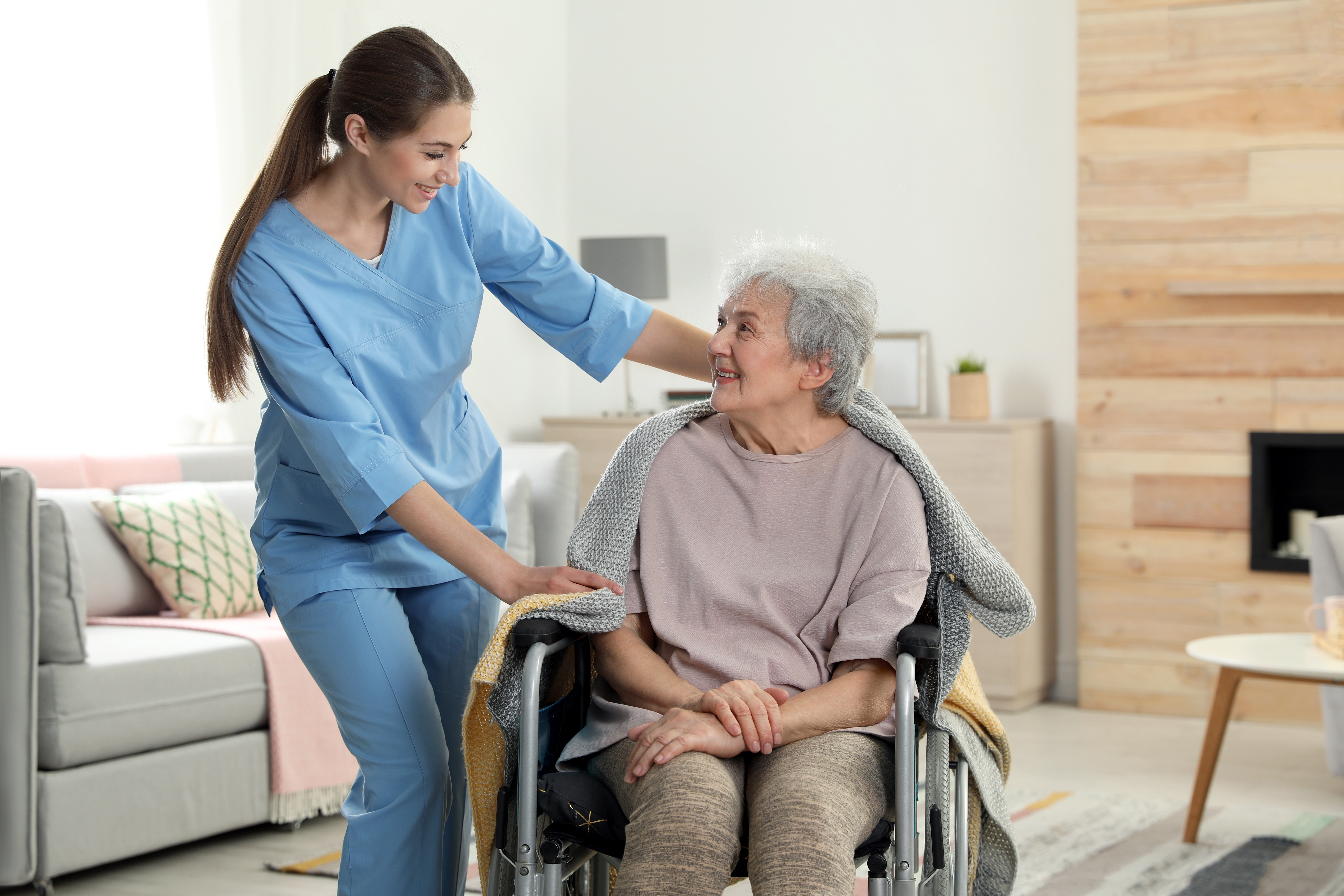 in home therapy patient in a wheelchair