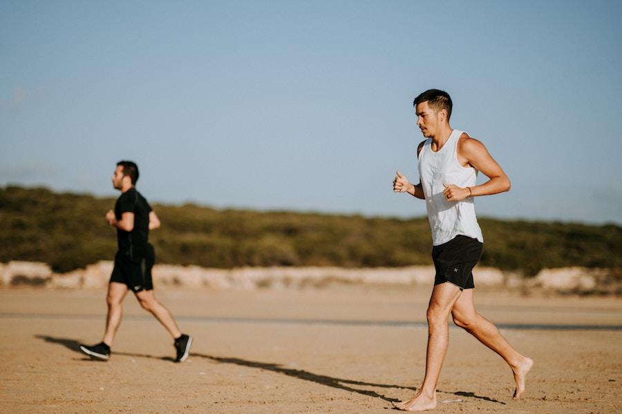 two men running outside